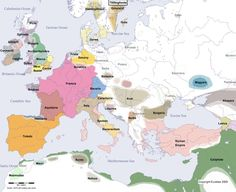 Europe Main Map at the Beginning of the Year 700