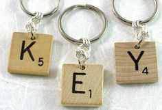 Scrabble Keychain Choose your letter by XOHandworks on Etsy Scrabble Letter Crafts, Scrabble Tiles, 26 Letters, Secret Pal Gifts, Craft Club, Crafty Craft, Cute Crafts, Craft Items, Recycling