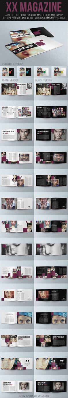 XX Magazine Black&White - #Magazines Print Templates Download here:  https://graphicriver.net/item/xx-magazine-blackwhite/11301556?ref=alena994