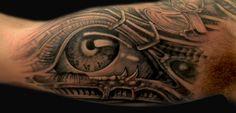 Biomechanical tattoo detail - eye