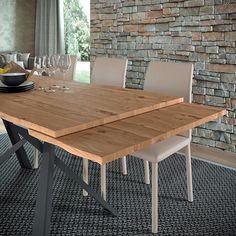 Extendable dining table with wooden top and extensions with debarked edge Crossed metal base and adjustable feet. Extendable Dining Table, Dining Tables, Desk Dimensions, Large Desk, Wooden Tops, Farmhouse Table, Dining Furniture, Sales Office, Expensive Watches