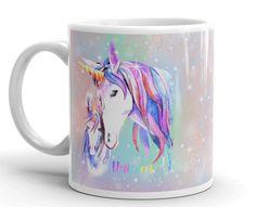 Unicorn Mug, Unicorn Gift Mug, Unicorn Lover Mug, Unicorn Mug Large, Girls Unicorn Mug, Girl Room Decor, Pink & Blue Painted Unicorns Mug by UnicornGiftsFor on Etsy Unicorn Gifts, All The Way, Gifts In A Mug, Girl Room, Unicorns, Pink Blue, Room Decor, Ceramics, Mugs