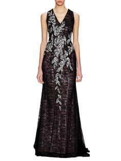 Sequin Lace V-Neck Gown by Carolina Herrera at Gilt