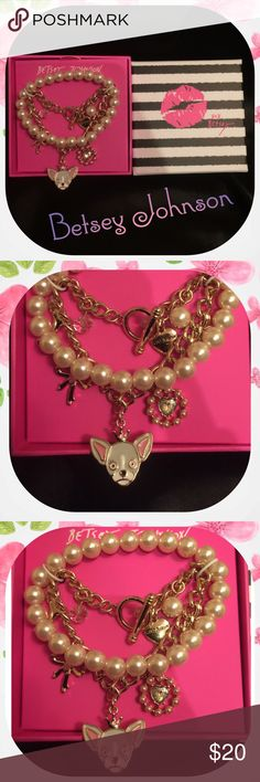 Betsey Johnson charm bracelet set Whimsical Betsey Johnson charm bracelet set comes with one dangle charm bracelet with doggy theme and a matching faux pearl bracelet . NIB Betsey Johnson Jewelry Bracelets