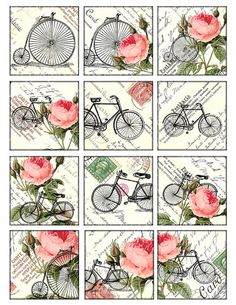 bikes and roses Vintage Printable Tags Digital Collage by 300dpi, $4.00