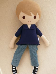 Reserved for Maude  Fabric Doll Rag Doll Boy Doll by rovingovine