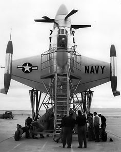 Lockheed XFV - experimental VTOL ship-based fighter 1954 https://en.m.wikipedia.org/wiki/Lockheed_XFV