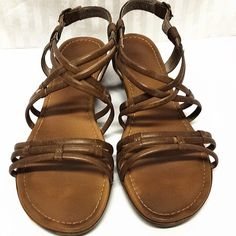 Brown leather strapy sandals Worn a handful of times. Excellent condition! Shoes Sandals