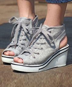 Peep Toe Canvas Wedge Sandals