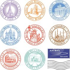 High quality Vector Stamps of major monuments around the world. : High quality Vector Stamps of major monuments around the world. Travel Stamp, Passport Stamps, Ideias Diy, Vintage Stamps, Travel Themes, Aesthetic Stickers, Grafik Design, Free Vector Art, Vintage Travel