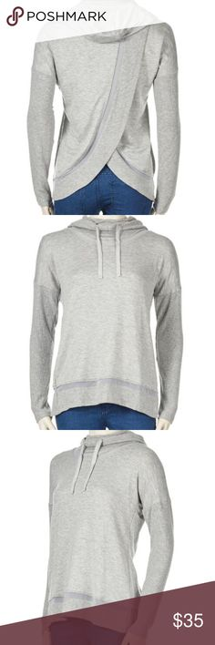 """Yogalicious HeatherGray Knit Drawstring Hoodie L Yogalicious HeatherGray Knit Drawstring Hoodie Large, new without tags. Mesh sections on front and back. Super soft and cozy! Open crossover back, drawstring hood, Rayon/Polyester/Spandex, long sleeves. NWOT measures approx 18"""" underarm to underarm, 24"""" long. yogalicious Tops Sweatshirts & Hoodies"""