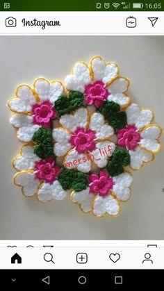Crochet Potholder Patterns, Crochet Flower Patterns, Crochet Doilies, Crochet Flowers, Crochet Sweater Design, Vintage Flowers, Flower Tattoos, Flower Designs, Flower Art