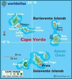 Cape Verde Islands: Sal Travel Tips for Women│When Woman Travels Cape Verde Map, Cape Verde Holidays, Africa Continent, Montenegro Travel, Verde Island, West Africa, Africa Map, Destinations, Thinking Day