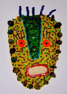STUCKY Tribal Voo Doo mask  Fabric beaded and by STUCKYOUTSIDERART, $35.00
