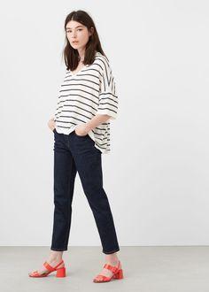 Fine-knit striped sweater   MANGO