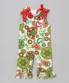 Take a look at this White & Green Very Merry Overalls - Infant & Toddler by Castles & Crowns on #zulily today!