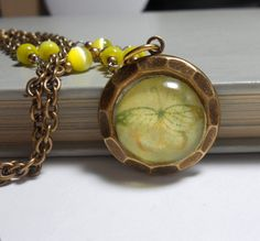 Beaded Necklace with Pendant Yellow Butterfly by TrudyAnnDesigns