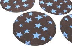 Knieflicken Sterne braun runder Aufnäher von Silwarin auf DaWanda.com