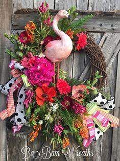 Flamingo Wreath Flamingo Decor Flamingo Door Hanging Summer