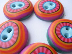 5 Handmade polymer clay buttons coorful funky by rabinowitzorly, $8.00