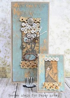 PaperArtsy: Card and ATC {with Lynne Perrella Stamps by Teresa Abajo }