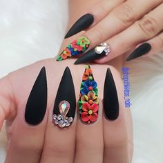 uñas con flores mexicanas Your home is your castle, and with a few do-it-oneself ingenuity you'll be able to renovate your house with astonishing creative Glam Nails, Bling Nails, 3d Nails, Matte Nails, Beauty Nails, 3d Nail Art, Coffin Nails, Stylish Nails, Trendy Nails