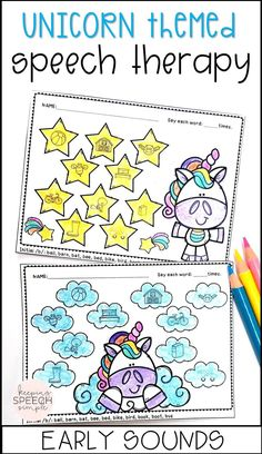 Your students will love using these adorable unicorn themed worksheets that target early sounds. Speech sound targets include: p, b, m, t, d, n, w, h, y. All targets are picture supported making this resource ideal for you non-readers and early elementary students. This no prep speech activity is also appropriate for preschool and kindergarten students. Click here to see more!