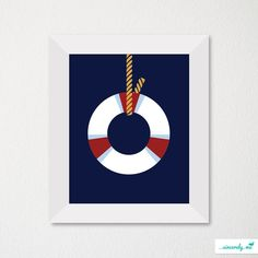 Custom Modern Children's Room Art Print / Nursery Decor / Newborn / Lifesaver / Sailing Theme / Choice of color. $21.00, via Etsy.