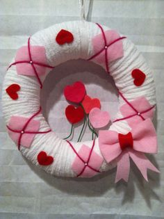 Yarn wreath. Valentine's. Made one of these the other day!!
