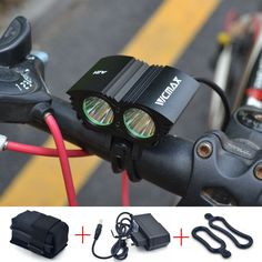 5000 Lumens 2x U2 LED Bicycle Front Light XML U2 LED MTB Mountain Cycling Bike Light Spotlight Lamp+ Battery + Charger