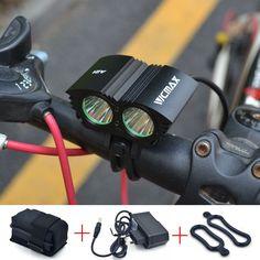 5000 Lümen 2x U2 LED Bisiklet Ön Işık XML U2 LED MTB Dağ Bisiklet Bisiklet Işık Spot Lamba + Pil + şarj