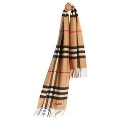 ee2ba2a006dd Burberry Classic Cashmere Scarf in Check ( 435) ❤ liked on Polyvore  featuring accessories