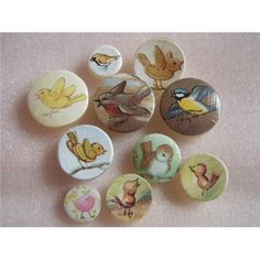 Handmade in Australia - Buttons recovered with pretty bird pictures..