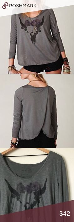 """We The Free People Cow Skull Split Back Top A rare Free People piece from the """"We the Free"""" Collection.  Hard to find Floral cow/bull skull  Burnout fabric  Split back Great boho piece for festival parties Free People Tops Tees - Long Sleeve"""
