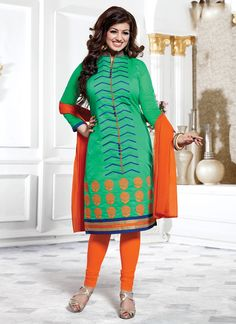 Style and trend will be at the peak of your beauty when you attire this sea green cotton   Ayesha Takia churidar designer suit. The embroidered and lace work looks chic and perfect for festival and pa...