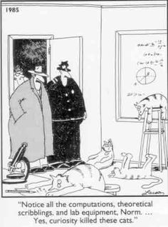 """Notice all the computations, theoretical scribblings and lab equipment, Norm... Yes, curiosity killed these cats."" -The Far Side."
