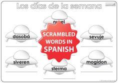 Spanish Days of the Week Worksheet – UFOs - Actividad con los días de la semana en español – Los ovnis