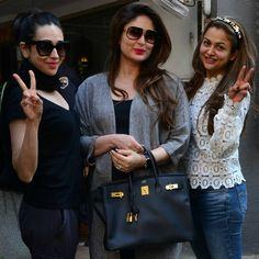 - Kareena Kapoor Khan catches up with sister Karisma and best friend Amrita for lunch. Bollywood Movie Trailer, Karisma Kapoor, Celebrity Magazines, Star Children, Kareena Kapoor Khan, Indian Celebrities, Bollywood Stars, Indian Beauty, Bollywood Actress