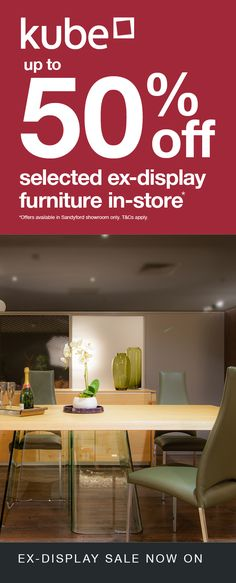 Only in our Kube Sandyford store - Don't miss this excellent opportunity for considerable savings, up to and more on Ex-display models. Here is a sampling of what is available on offer. Visit our Sandyford interiors showroom to view all deals. Cream Leather Sofa, Dining Set, Dining Table, Media Unit, Living Room Sets, Table And Chairs, Showroom, The Selection, Opportunity
