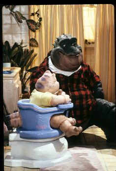 DINOSAURS - 'Nature Calls' - Airdate: September 18, 1992. (Photo by ABC Photo Archives/ABC via Getty Images) BABY SINCLAIR;EARL SINCLAIR Earl Sinclair, Dinosaurs Tv, History Of Television, Abc Photo, Jim Henson, Photo Archive, Childhood Memories, Good Times, Old School