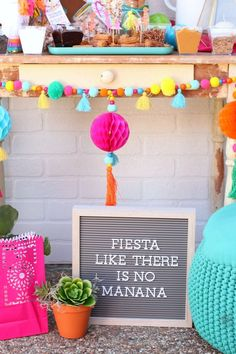 Boho Chicks and Churros Fiesta Party Fiesta Like There Is No Mañana Letter Board Mexican Birthday Parties, Mexican Fiesta Party, Fiesta Theme Party, 30th Birthday Parties, Fiesta Party Decorations, 2nd Birthday, Halloween Decorations, Birthday Ideas, Taco Bar