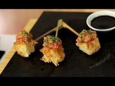 This recipe uses leftovers after making sushi to make a delicious tuna tartare canape. See more sush Sushi Recipe Video, Tuna Tartare Recipe, Spicy Mayo Recipe, Tapas, Sushi Rice Recipes, Poppers Recipe, Good Carbs, How To Make Sushi, Party Dishes