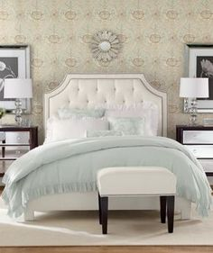 Love the glam furniture & photos above the night stands.