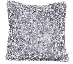 Silver Pillow Cover, One 16 x 16 Decorative Throw Pillow, Silver Grey, Sequins, Beads, Glitter, Sparkly, Sequin Pillow - 'Twinkling Stars'. $44.95, via Etsy.
