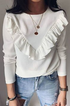 Ruffles Design Round Neck Long Sleeve Blouse Women's Online Shopping Offering Huge Discounts on Dresses, Lingerie , Jumpsuits , Swimwear, Tops and More. Trend Fashion, Look Fashion, Fashion Outfits, Womens Fashion, Cute Blouses, Shirt Blouses, Blouses For Women, Khaki Shirt, Looks Chic