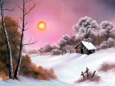 Pink Sunset in Winter Style of Bob Ross art for sale at Toperfect gallery. Buy the Pink Sunset in Winter Style of Bob Ross oil painting in Factory Price. Bob Ross Landscape, Landscape Art, Landscape Paintings, Oil Paintings, Winter Painting, Winter Art, Winter Style, Winter Snow, Snow Scenes