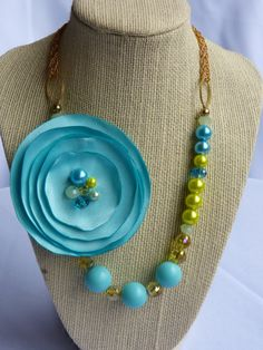 Your place to buy and sell all things handmade Fabric Flower Pins, Golden Honey, Satin Flowers, Turquoise Beads, Aqua, Great Gifts, Channel, Beaded Necklace, Sparkle