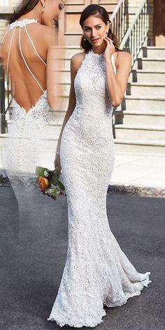 Fabulous Lace Halter Neckline Open Back Natural Waistline Mermaid Wedding Dress Making A Wedding Dress, Perfect Wedding Dress, Best Wedding Dresses, Bridal Dresses, Dress Wedding, High Neck Wedding Dresses, Open Back Wedding Dress, Formal Dresses, Bridesmaid Dress