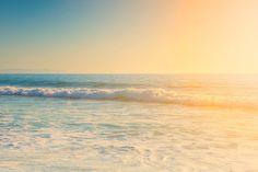 Beach Photography, Santa Monica Beach, California, Sunset, Warm Summer, Ocean, Waves, Seaside, Blue Ocean