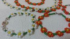 """Бисероплетение. Diy. Handmade.: Колье и браслет """"Ромашки""""/Necklace and bracelet """"D..."""
